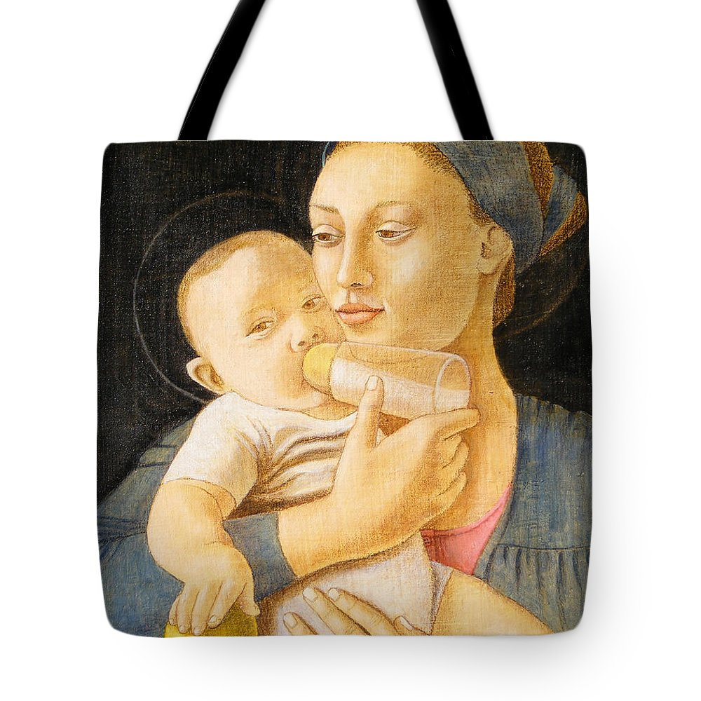 Madonna Tote Bag featuring the painting Our Lady Nursing The Child by Andrea Vandoni