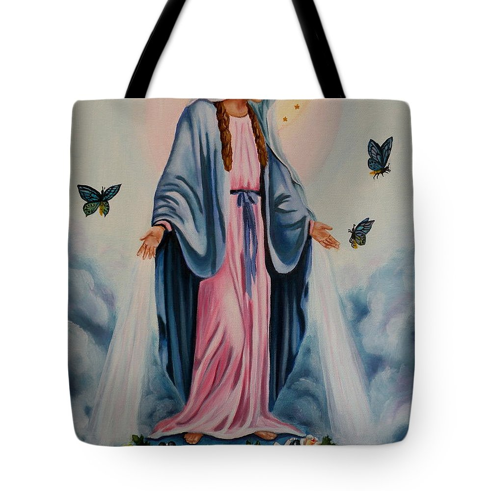 Our Lady Of Grace Tote Bag featuring the painting Our Lady Of Grace I by Lora Duguay