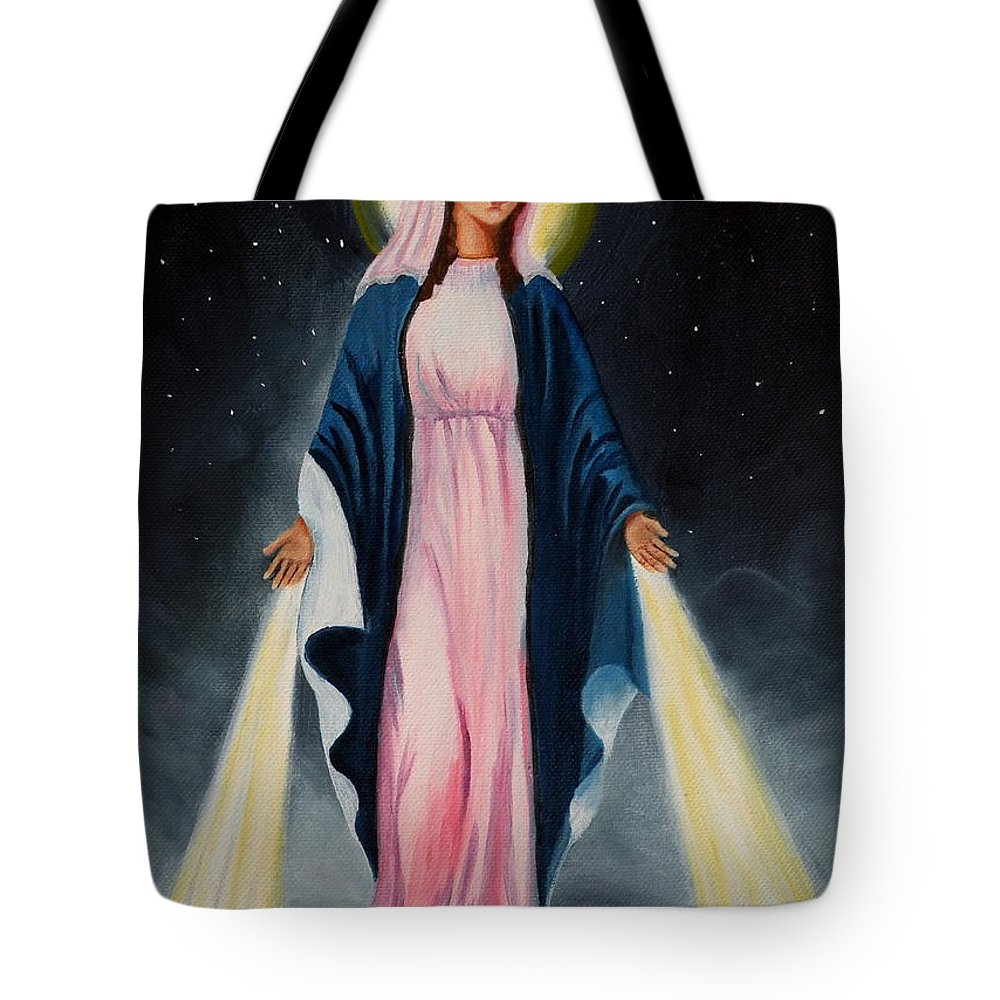 Our Lady Of Grace Tote Bag featuring the painting Our Lady Of Grace II by Lora Duguay