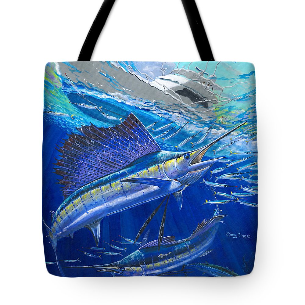 Sailfish Tote Bag featuring the painting Out Of Sight by Carey Chen