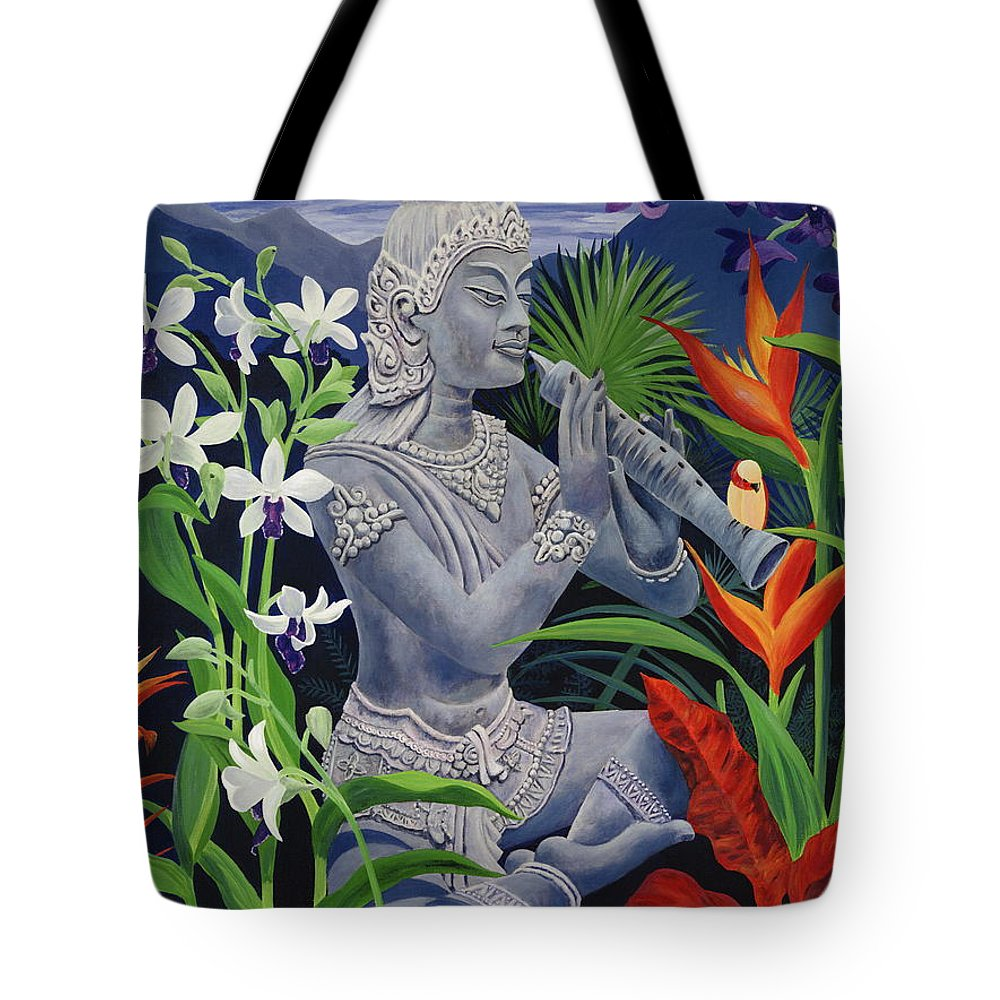 Buddah Tote Bag featuring the painting Out Of The Blue by Danielle Perry
