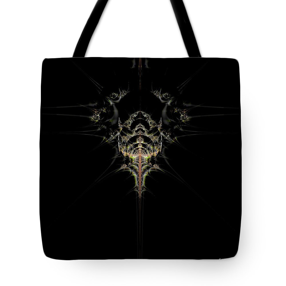 Fractal Art Tote Bag featuring the digital art Out Of The Blue / Into The Black by Elizabeth McTaggart