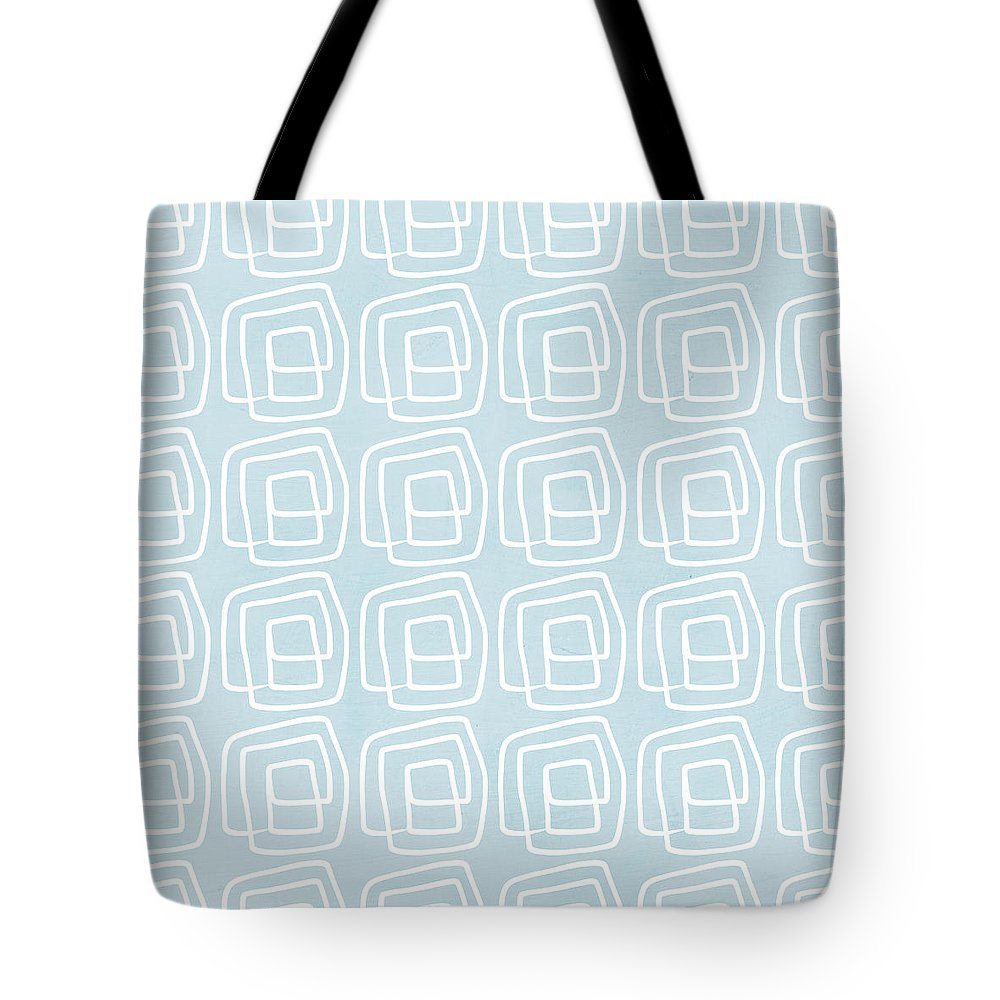 Boho Tote Bag featuring the painting Out of The Box blue and white pattern by Linda Woods