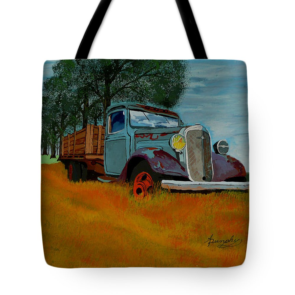 Truck Tote Bag featuring the painting Out to Pasture by Anthony Dunphy