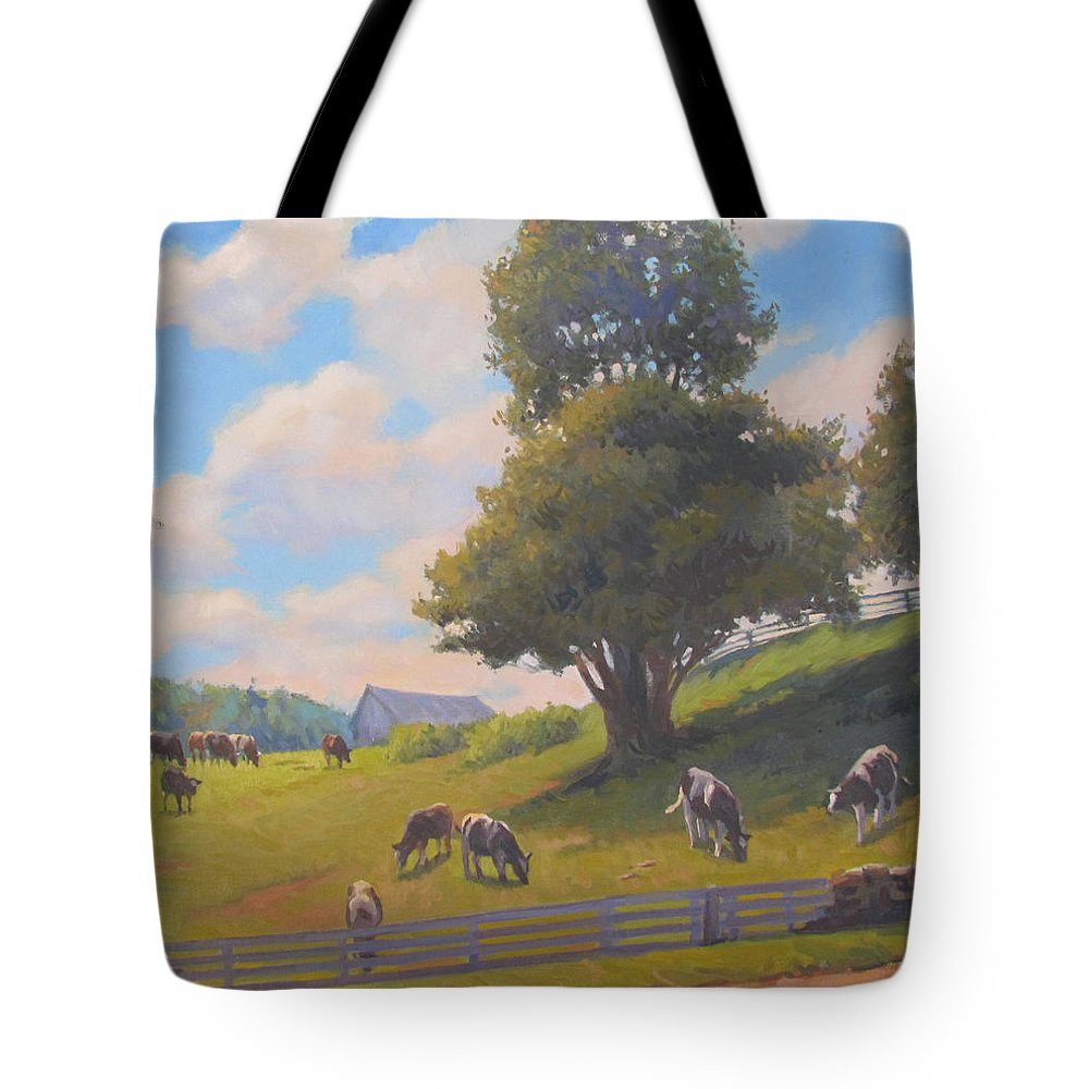 Cows Tote Bag featuring the painting Out To Pasture by Dianne Panarelli Miller