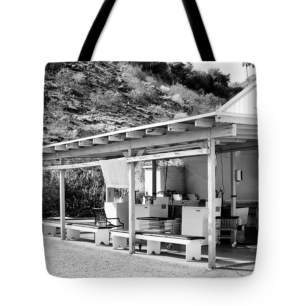 Urban Decay Tote Bag featuring the photograph Outdoor Laundry Bw Palm Springs by William Dey