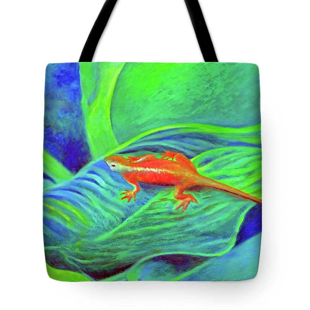 Outer Banks Tote Bag featuring the painting Outer Banks Gecko by Kandy Cross