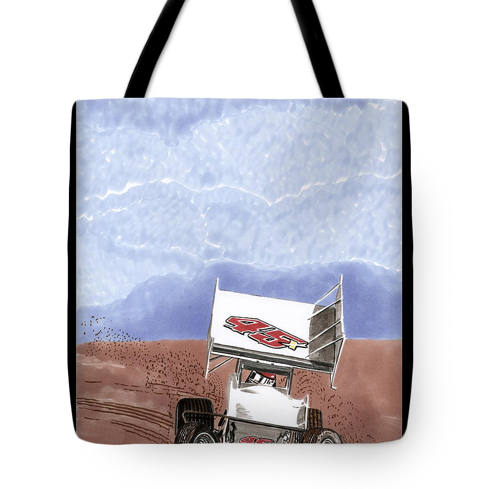 Car Art Tote Bag featuring the painting Outlaw Race Car by Jack Pumphrey