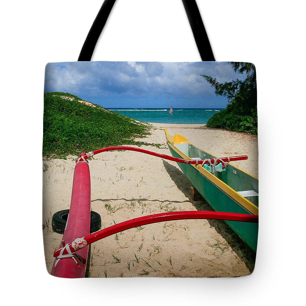 Beach Tote Bag featuring the photograph Outrigger Beach by Paul Moore