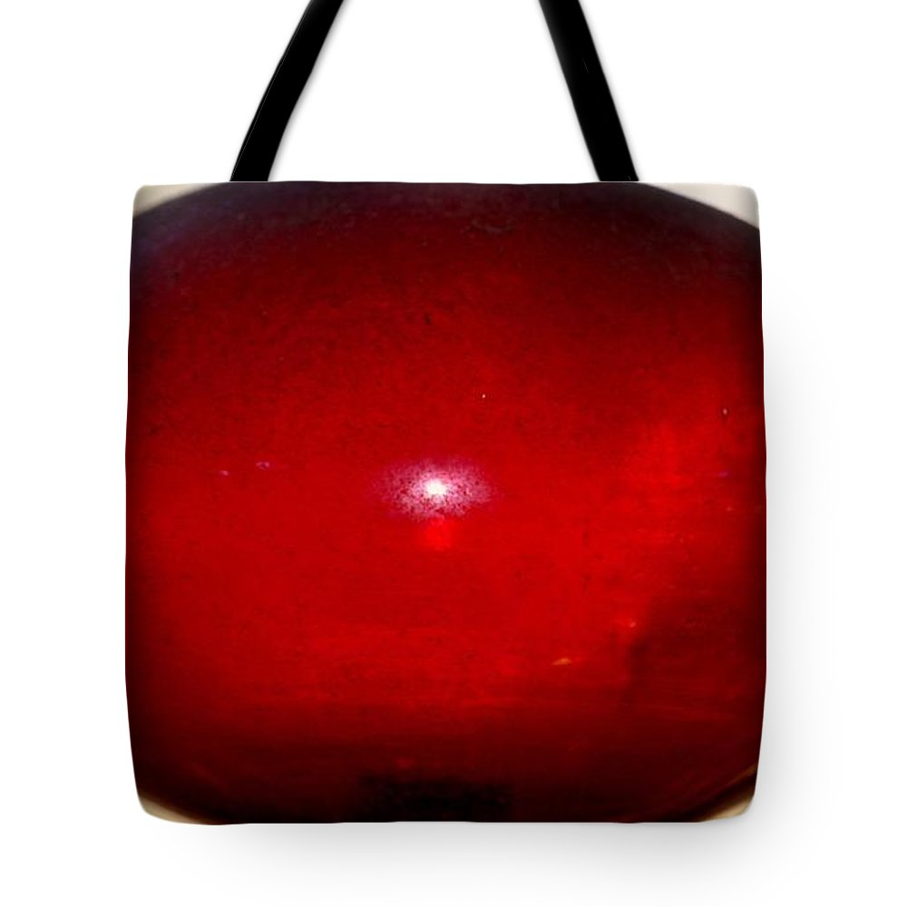 Oval Red Abstract Tote Bag featuring the photograph Oval Red Abstract by Maria Urso