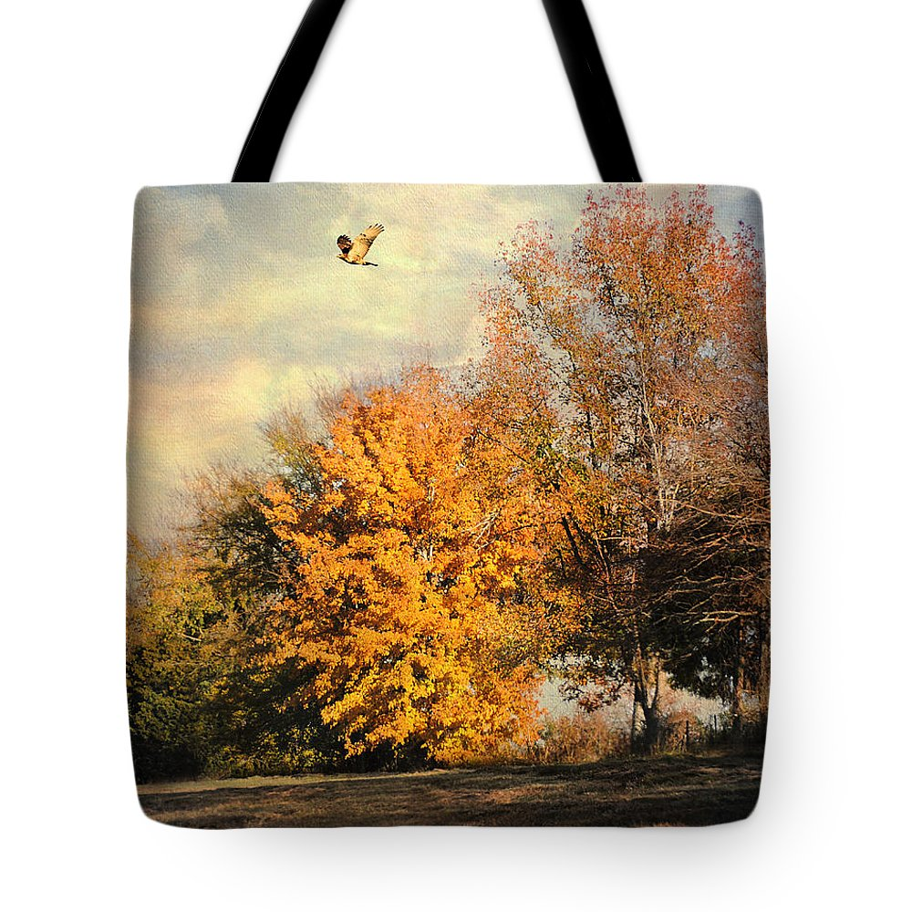 Autumn Tote Bag featuring the photograph Over The Golden Tree by Jai Johnson