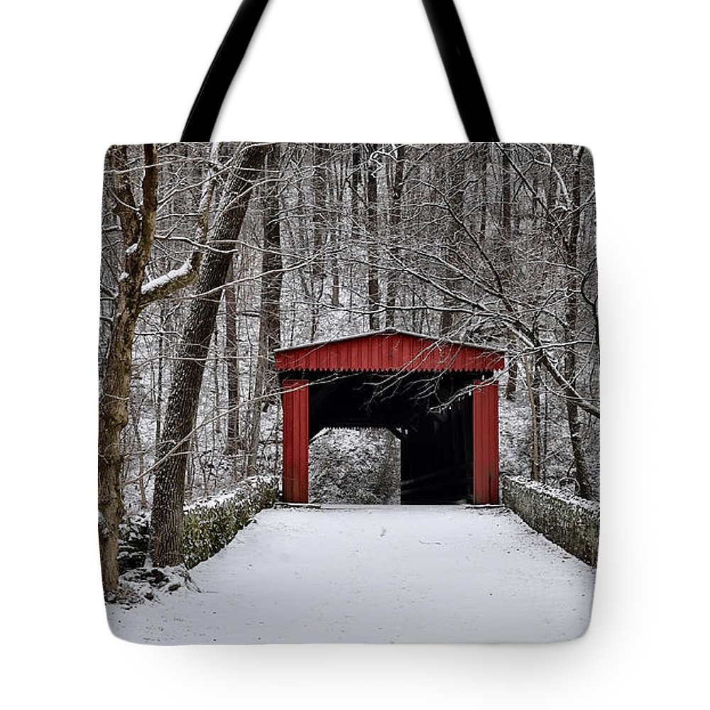 Over The River And Through The Woods Tote Bag featuring the photograph Over The River And Through The Woods by Bill Cannon