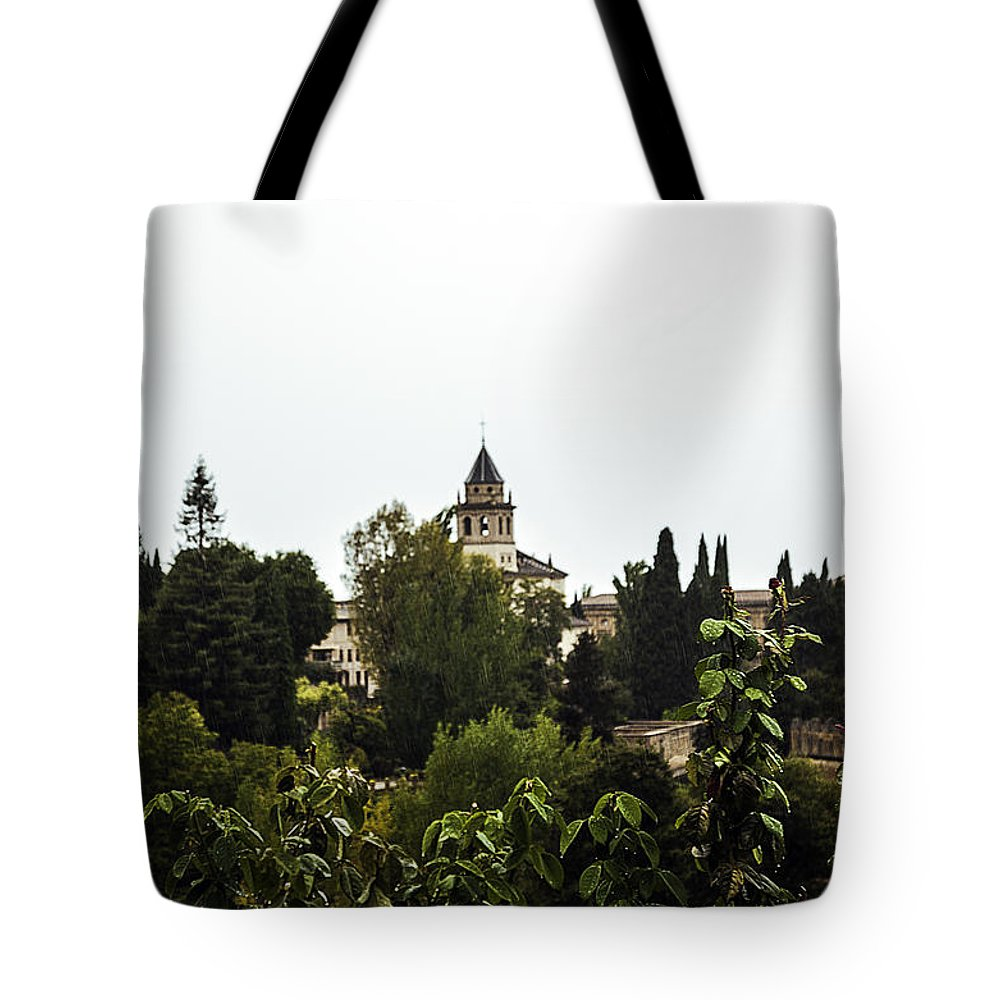 Alhambra Tote Bag featuring the photograph Overlooking The Alhambra On A Rainy Day - Granada - Spain by Madeline Ellis