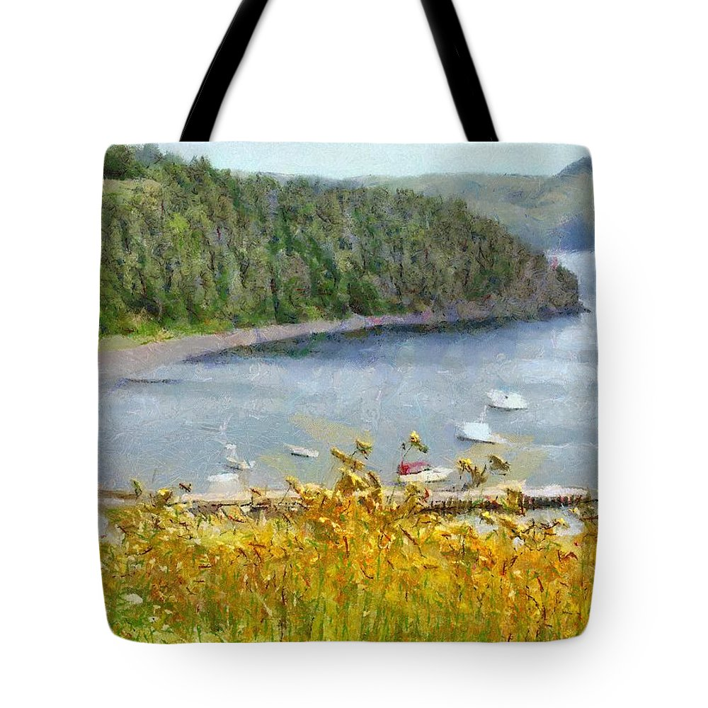 Canadian Tote Bag featuring the painting Overlooking the Harbor by Jeffrey Kolker