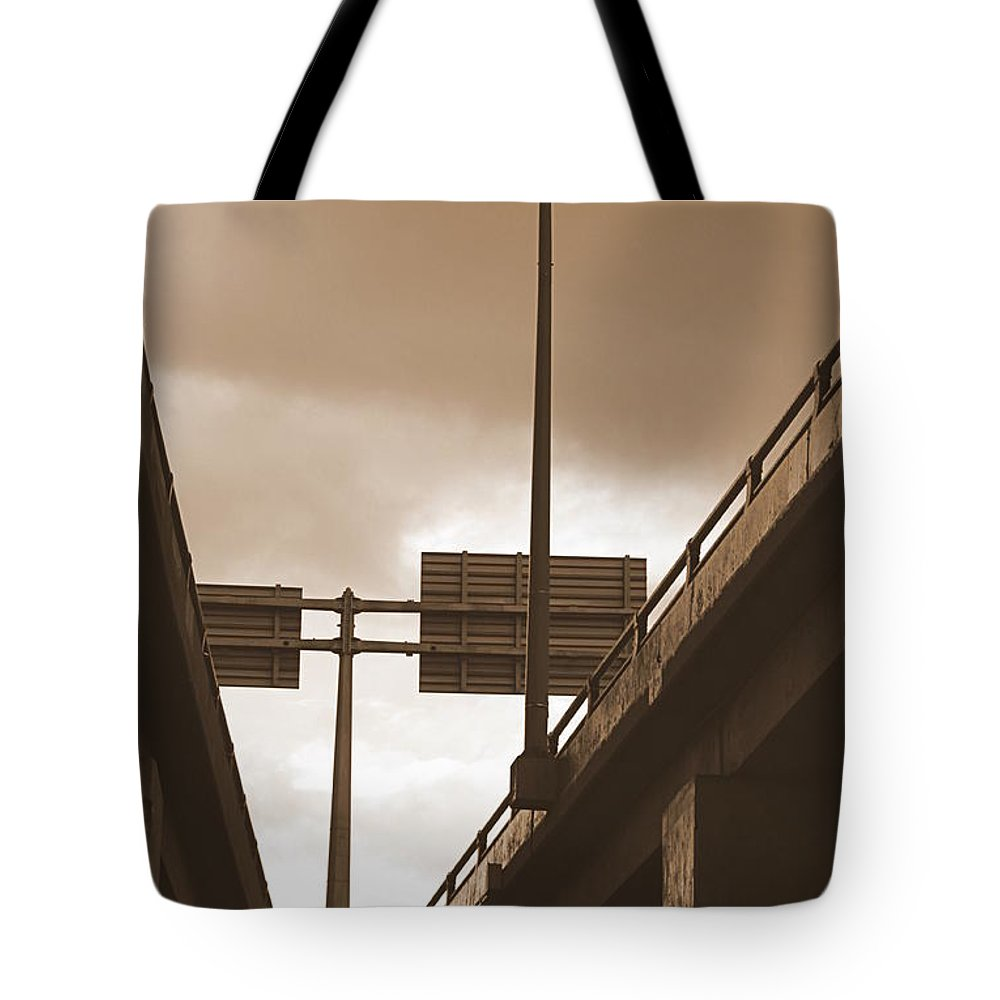 Overpass Tote Bag featuring the photograph Overpass In Sepia by Valentino Visentini
