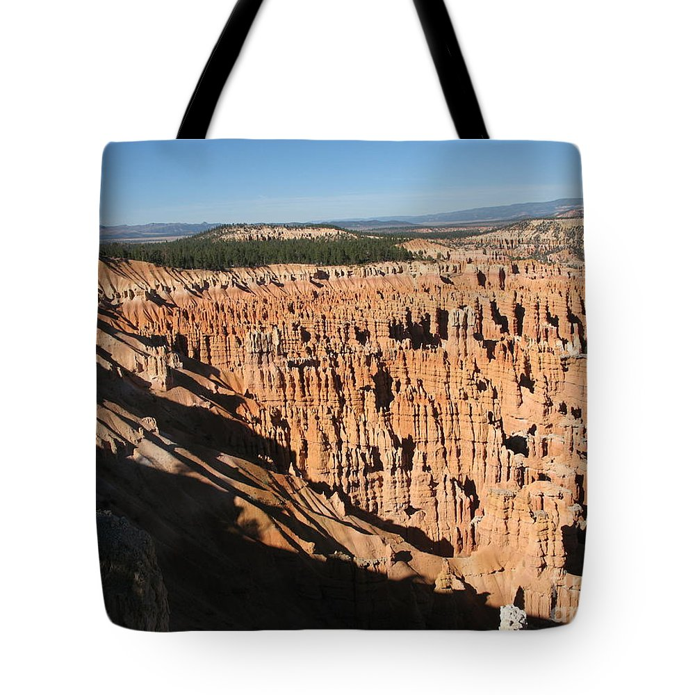 Mountians Tote Bag featuring the photograph Overview At Bryce Canyon by Christiane Schulze Art And Photography