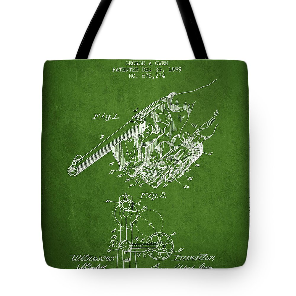 Revolver Patent Tote Bag featuring the digital art Owen Revolver Patent Drawing From 1899- Green by Aged Pixel