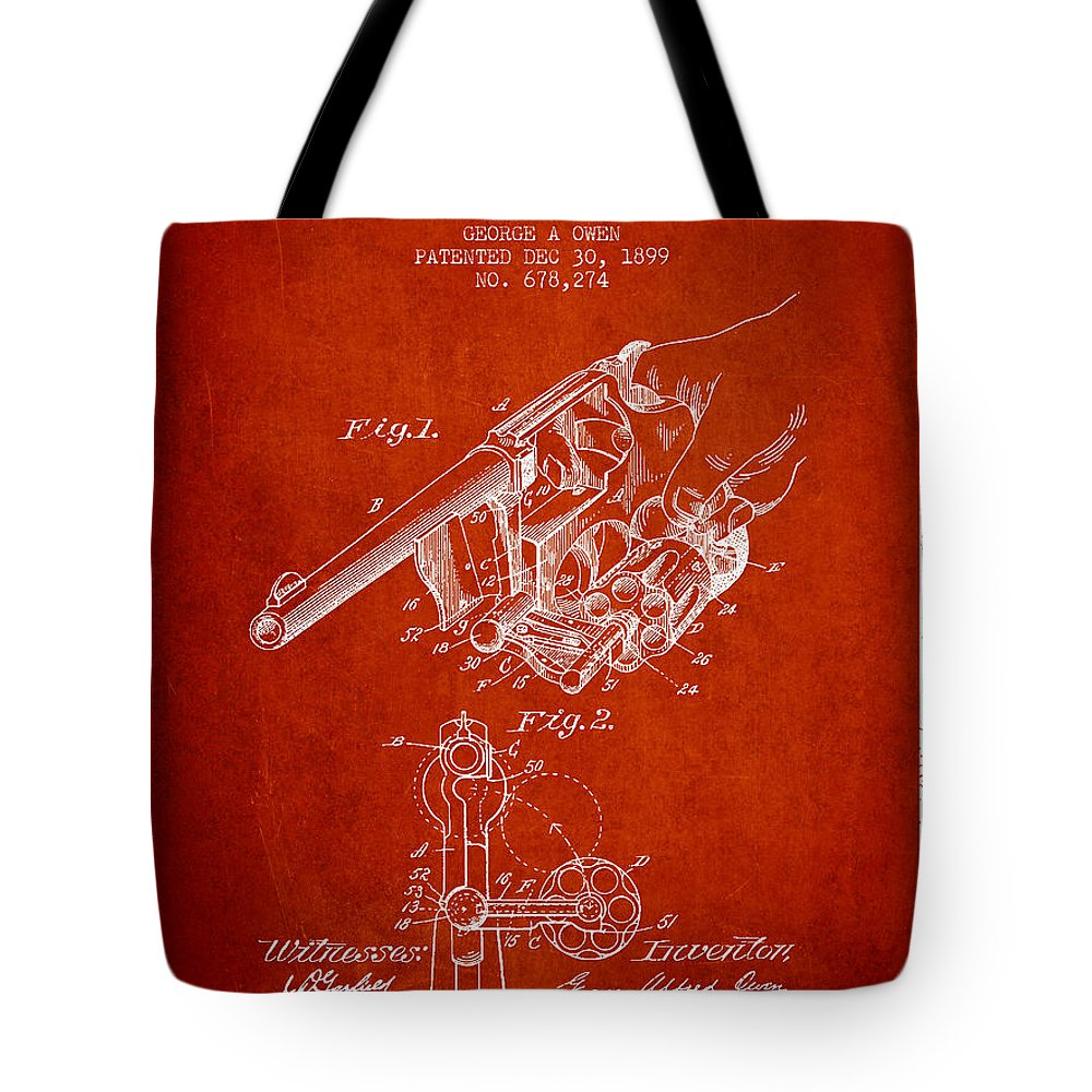 Revolver Patent Tote Bag featuring the digital art Owen Revolver Patent Drawing From 1899- Red by Aged Pixel
