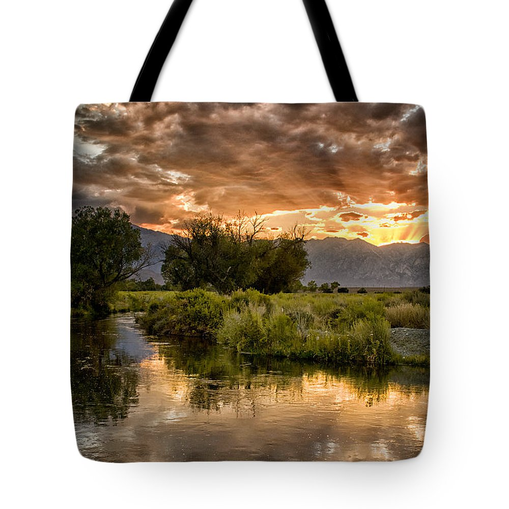 Sunset Tote Bag featuring the photograph Owens River Sunset by Cat Connor