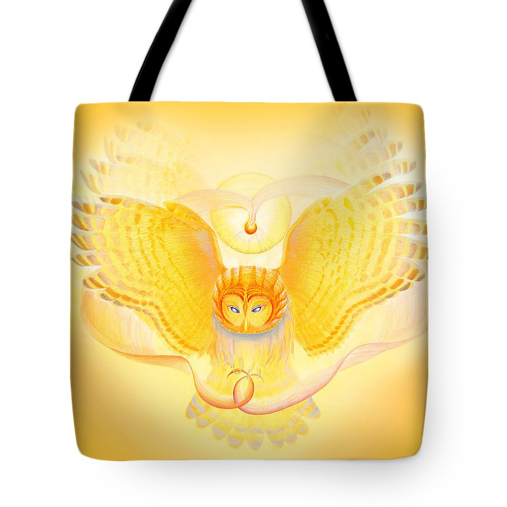 Owl Tote Bag featuring the drawing Owl Touching The Medicine Song by Robin Aisha Landsong