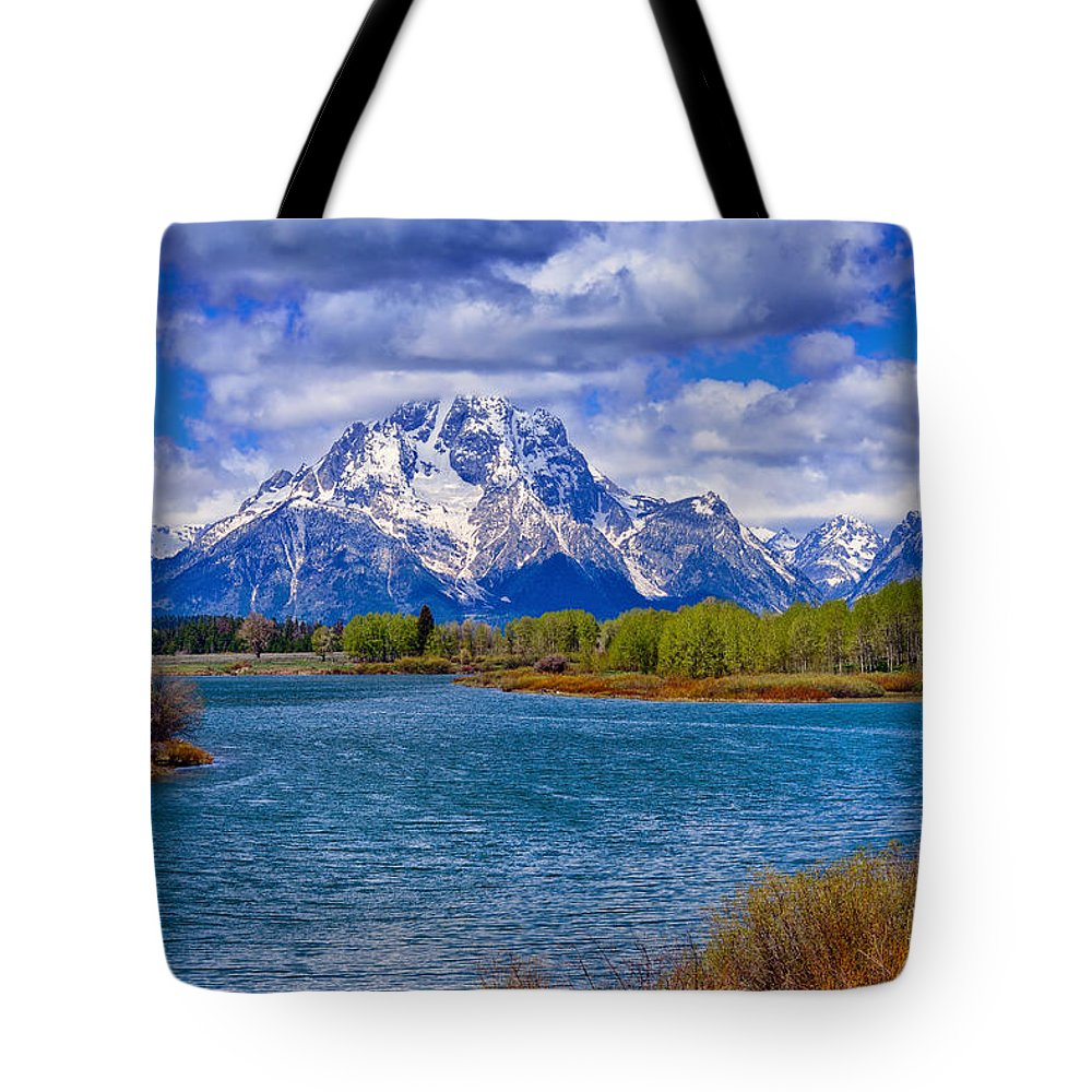 Oxbow Bend Tote Bag featuring the photograph Oxbow Bend In Spring by Greg Norrell