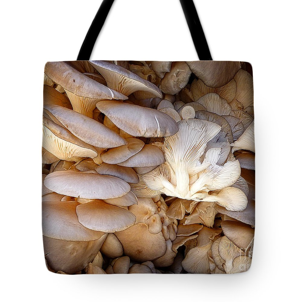 Mushroom Tote Bag featuring the digital art Oyster Mushrooms by Dee Flouton