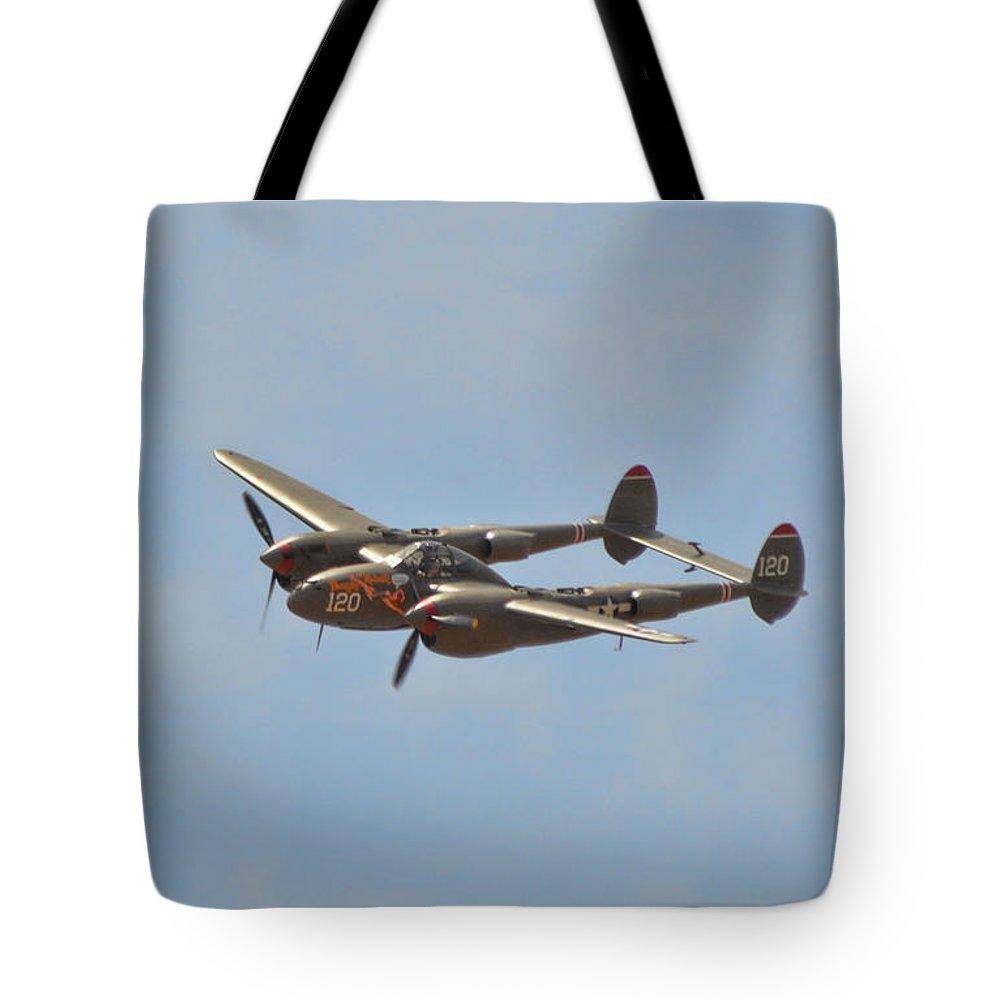 Lockheed P-38l Lighting Tote Bag featuring the photograph P-38l Lighting - Thoughts Of Midnight 2 by Tommy Anderson