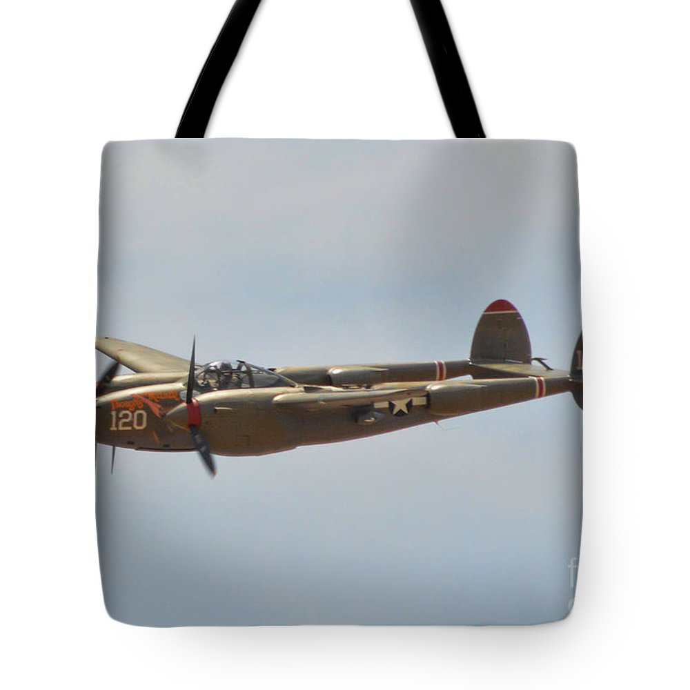Lockheed P-38l Lighting Tote Bag featuring the photograph P-38l Lighting - Thoughts Of Midnight by Tommy Anderson