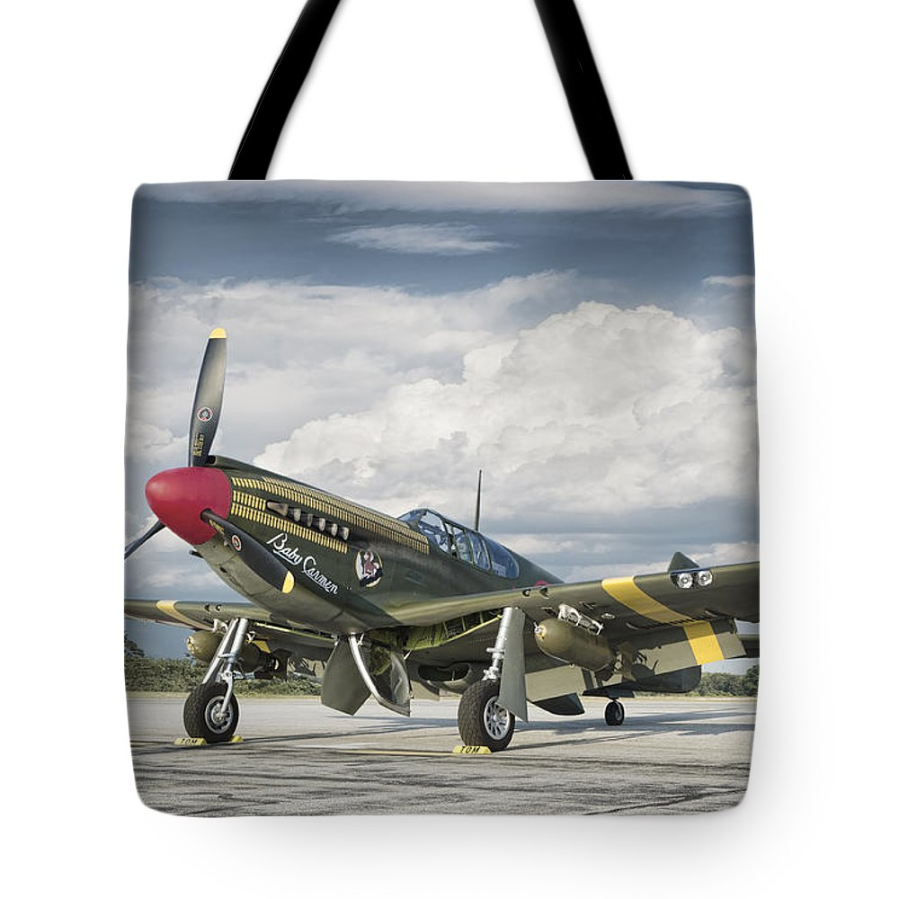 War 1940's Aircraft Aviation Historic Flight Flying Air Force American Victory Classic Vintage Fighter Plane Army Pilot Tote Bag featuring the photograph P-51 Mustang by Jeff Stephenson