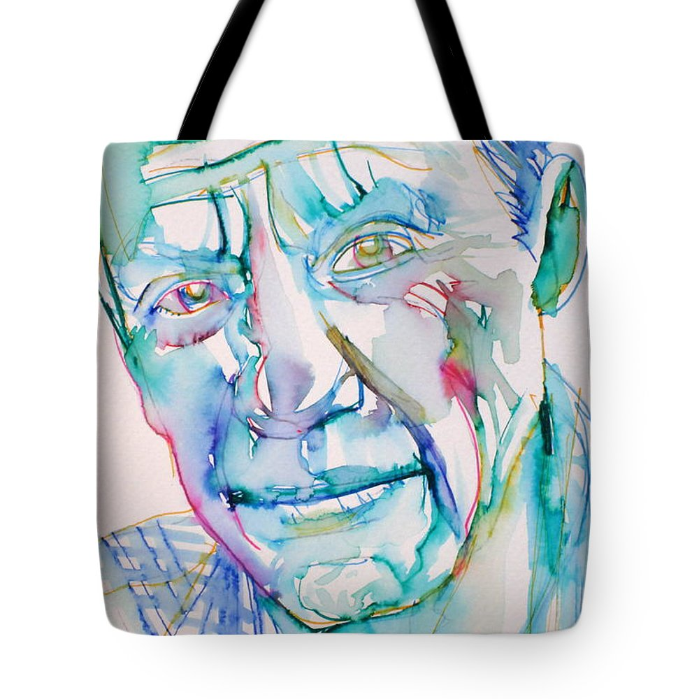 Pablo Tote Bag featuring the drawing Pablo Picasso- Portrait by Fabrizio Cassetta