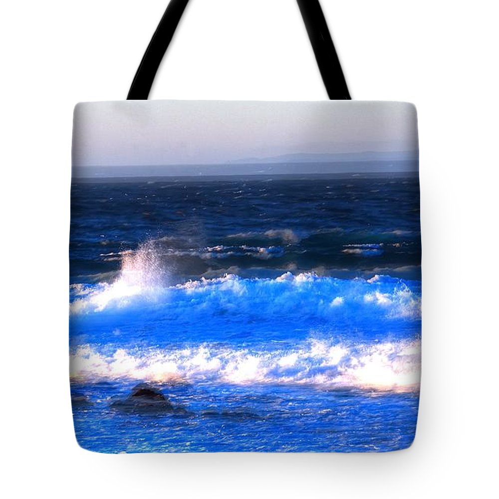 Monterey Tote Bag featuring the photograph Pacific Grove Surf 19806 by Jerry Sodorff