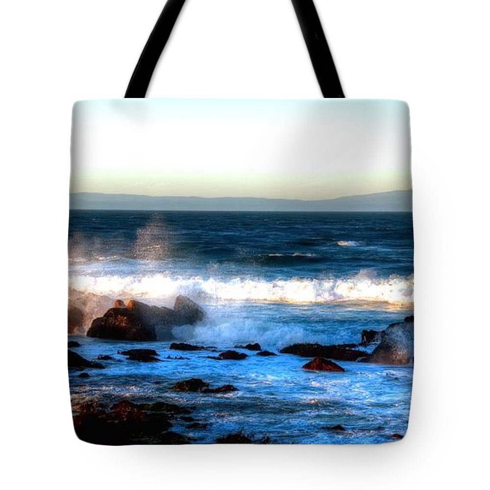Monterey Tote Bag featuring the photograph Pacific Grove Surf 19894 by Jerry Sodorff