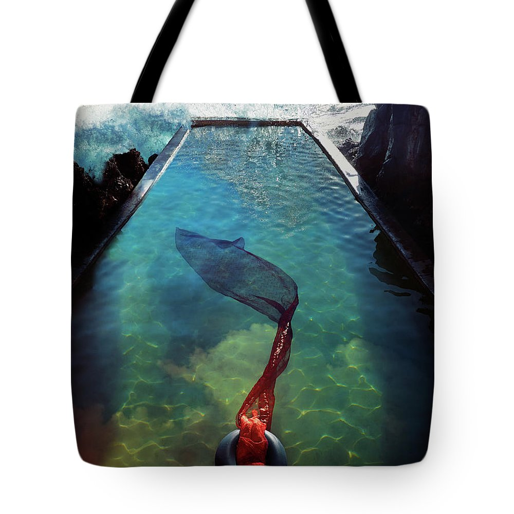 Human Arm Tote Bag featuring the photograph Pacific Islander Woman In Mermaid by Colin Anderson Productions Pty Ltd