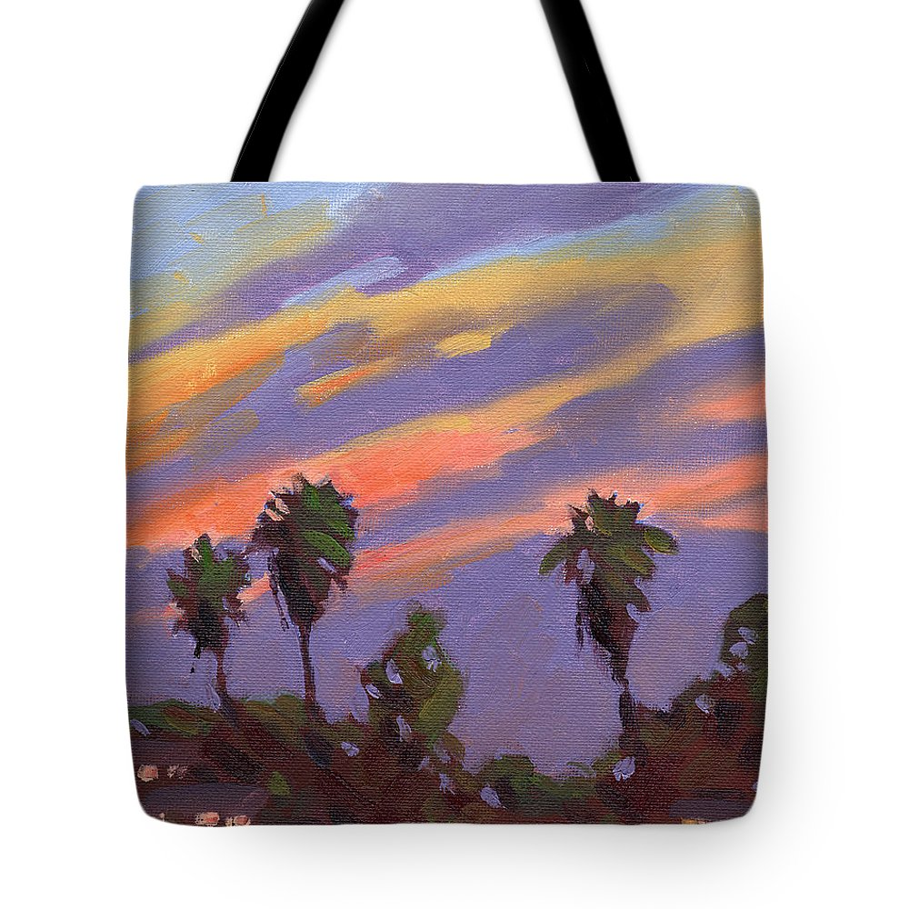 Sunset Tote Bag featuring the painting Pacific Sunset 1 by Konnie Kim