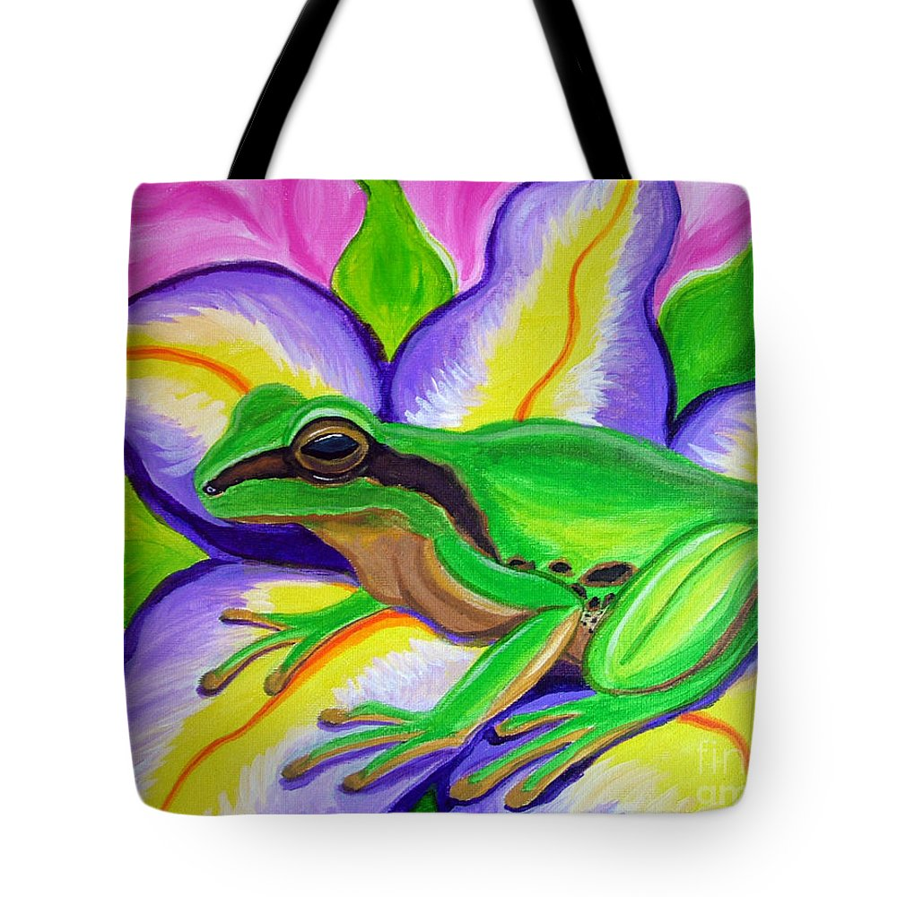 Pacific Tree Frog Tote Bag featuring the painting Pacific Tree Frog And Flower by Nick Gustafson