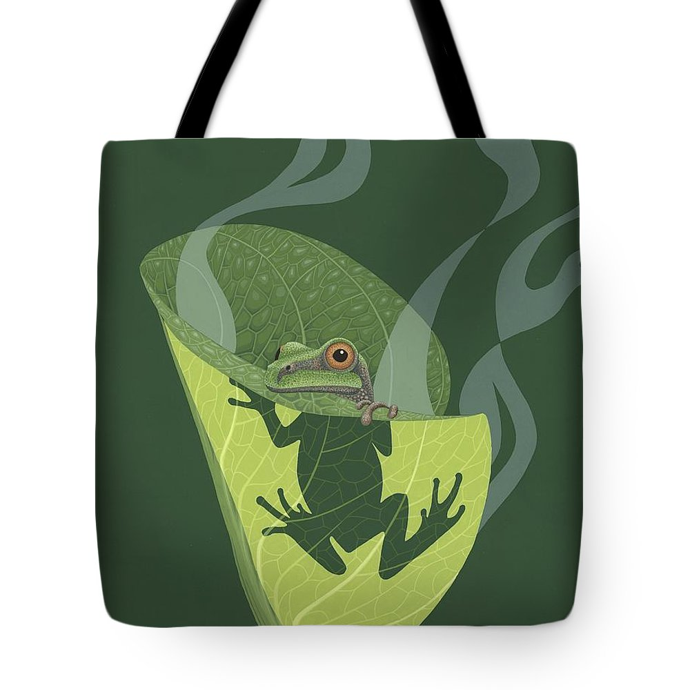 Painting Tote Bag featuring the painting Pacific Tree Frog In Skunk Cabbage by Nathan Marcy