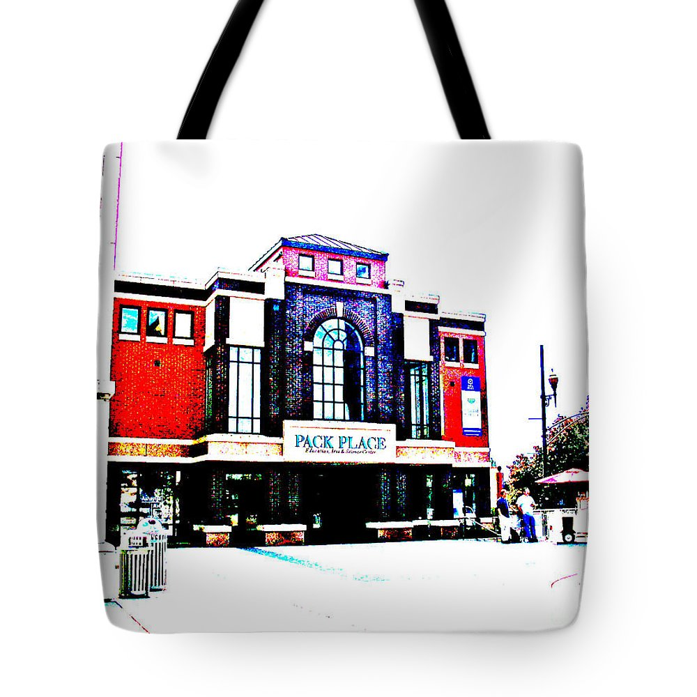 Computer Graphics Tote Bag featuring the photograph Pack Place Asheville In High Contrast by Marian Bell