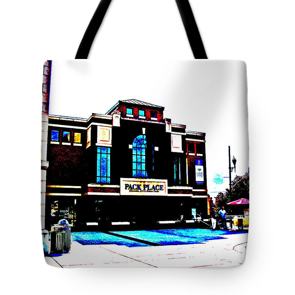 Pack Place Tote Bag featuring the photograph Pack Place In High Contrast by Marian Bell