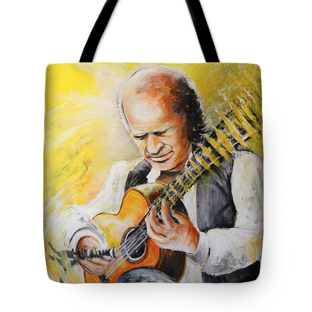 Music Tote Bag featuring the painting Paco De Lucia by Miki De Goodaboom