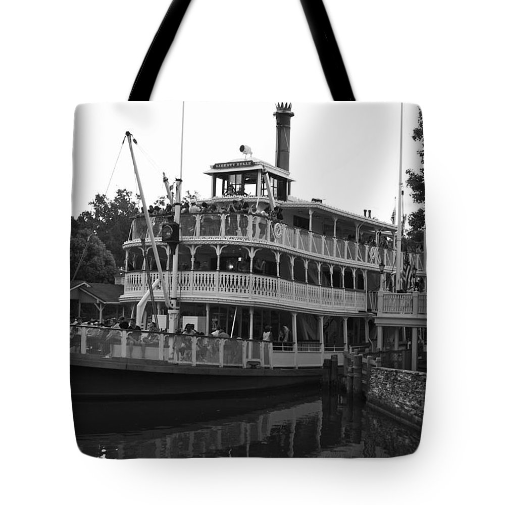 Black And White Tote Bag featuring the photograph Paddle Boat Black And White Walt Disney World by Thomas Woolworth