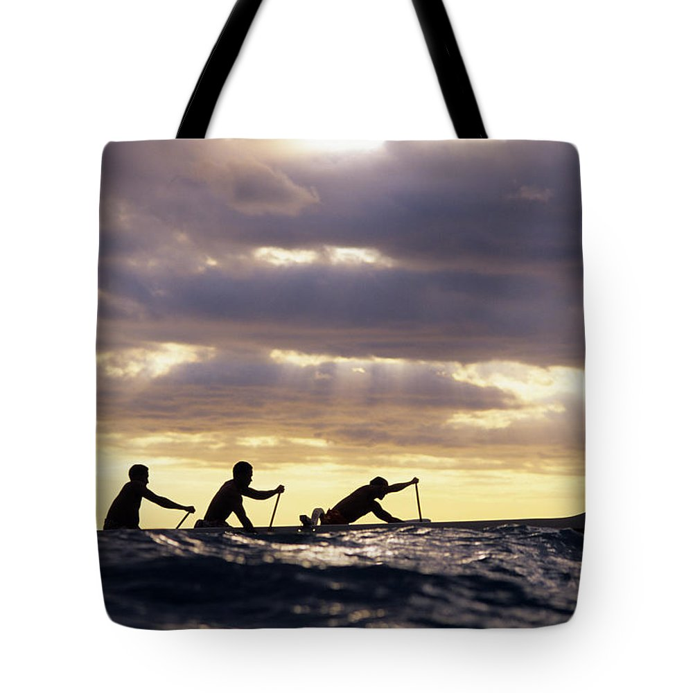 Adrenaline Tote Bag featuring the photograph Paddlers Silhouetted by Vince Cavataio - Printscapes