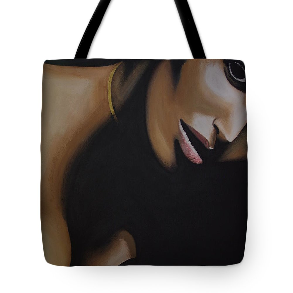 Beauty Tote Bag featuring the painting Padma Lakshmi by Dean Stephens