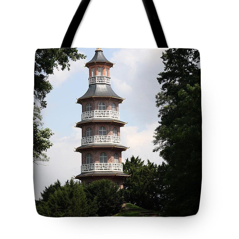 Pagoda Tote Bag featuring the photograph Pagoda - Dessau Woerlitz by Christiane Schulze Art And Photography