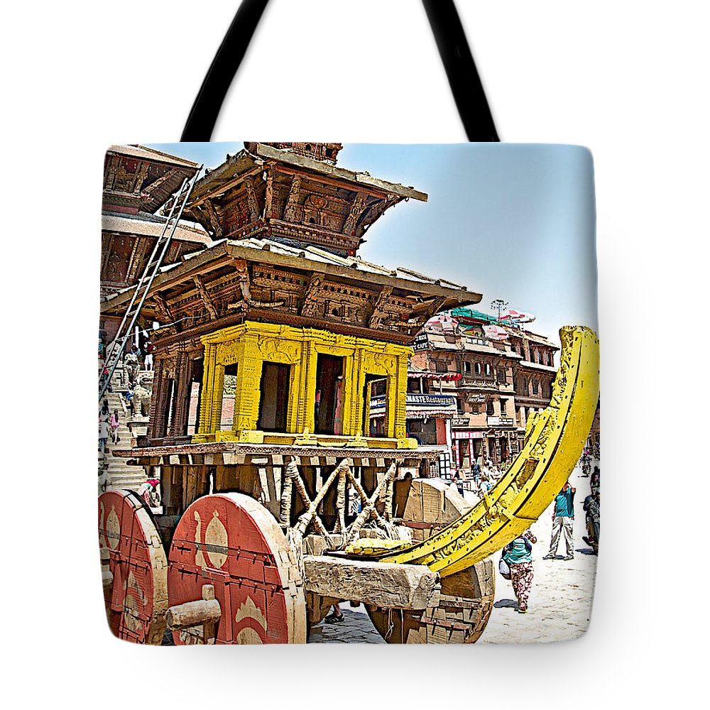 Pagoda-style Carriage In Bhaktapur Durbar Square In Bhaktapur In Nepal Tote Bag featuring the photograph Pagoda-style Carriage In Bhaktapur Durbar Square In Bhaktapur-nepal by Ruth Hager
