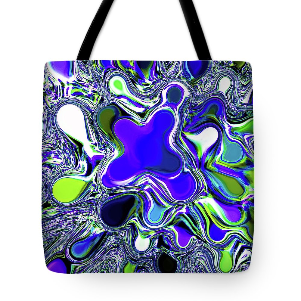 Abstract Tote Bag featuring the photograph Paint Ball Color Explosion Blue by Andee Design