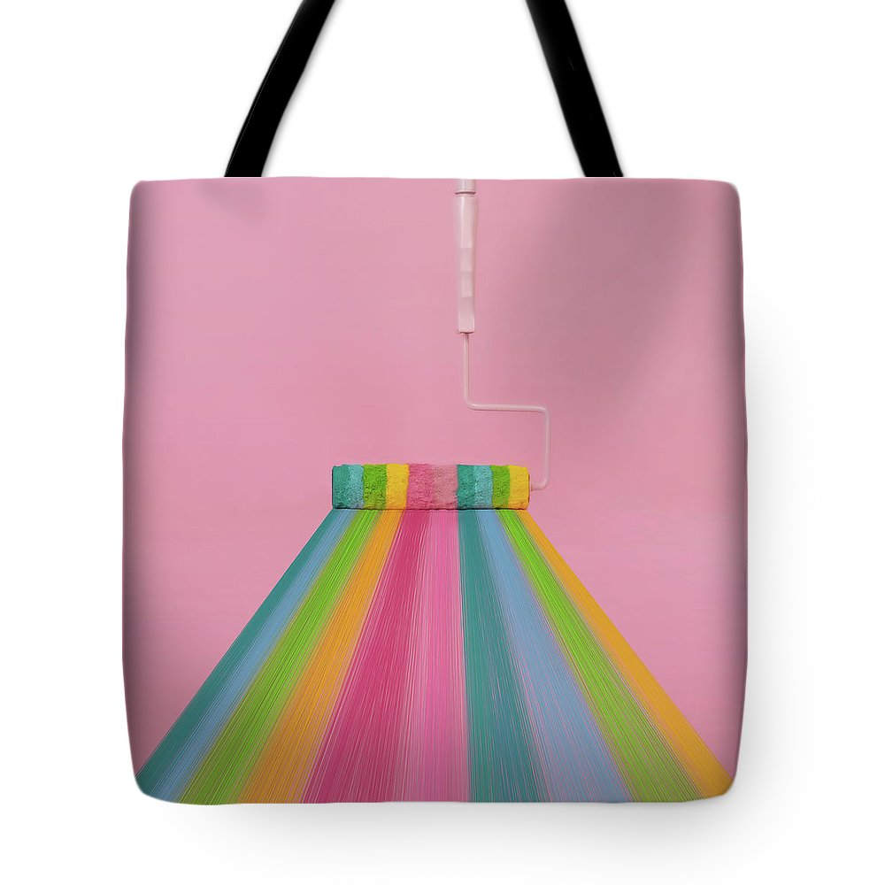 Art Tote Bag featuring the photograph Paint Roller With Rainbow Stripes by Juj Winn