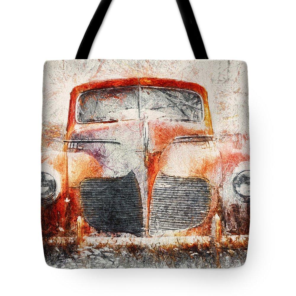 Classic Car Drawings Tote Bags