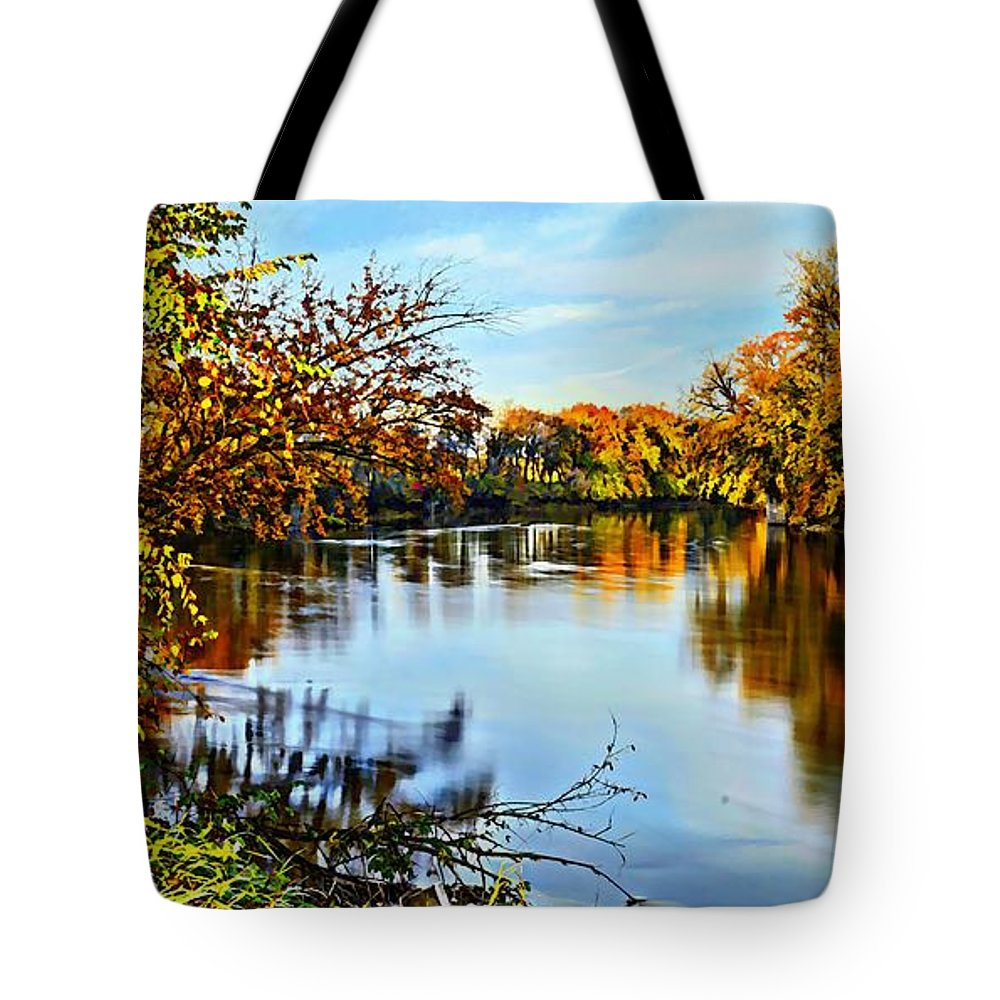 Environment Tote Bag featuring the photograph Painted Autumn River by Bonfire Photography