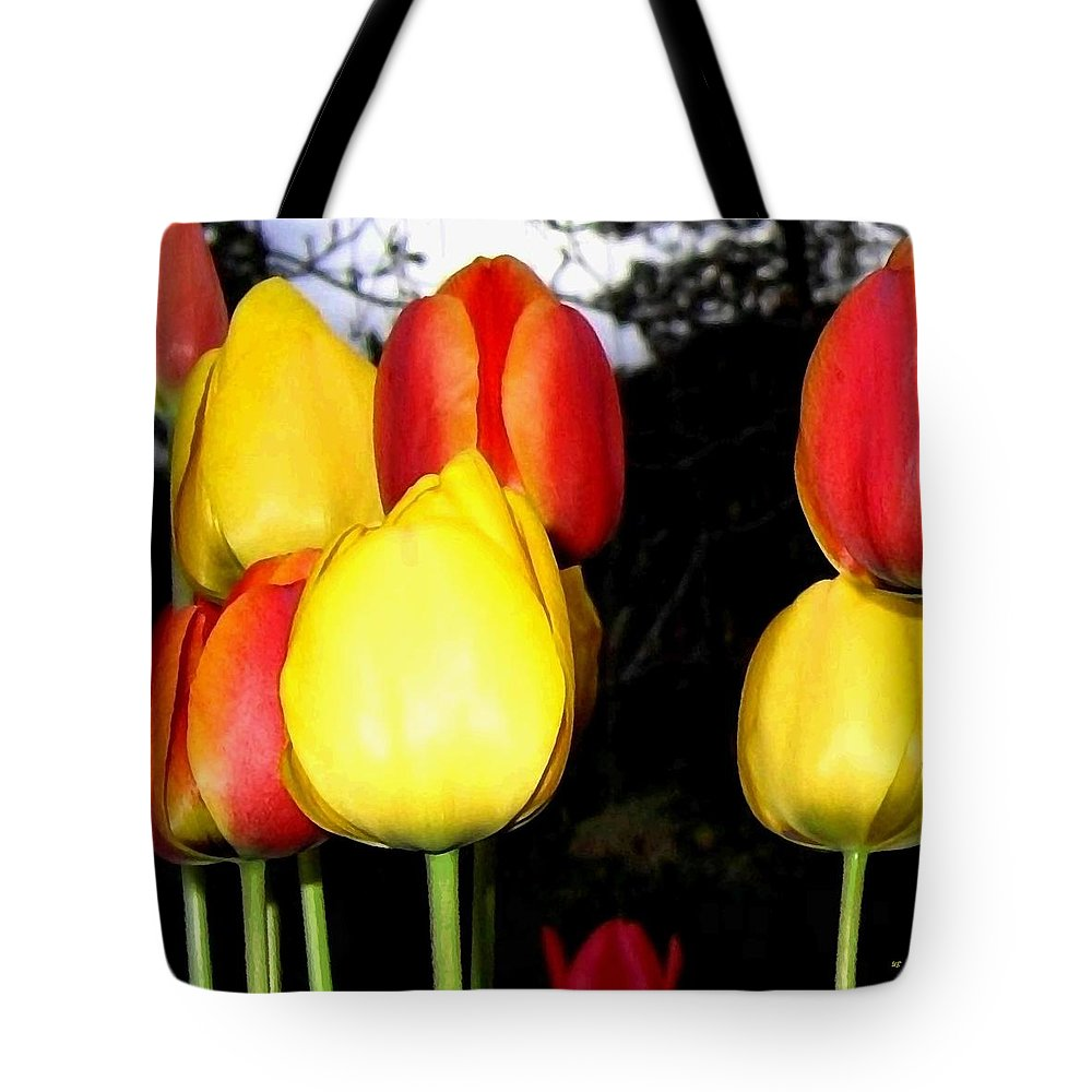 Painted Country Tulips Tote Bag featuring the digital art Painted Country Tulips by Will Borden