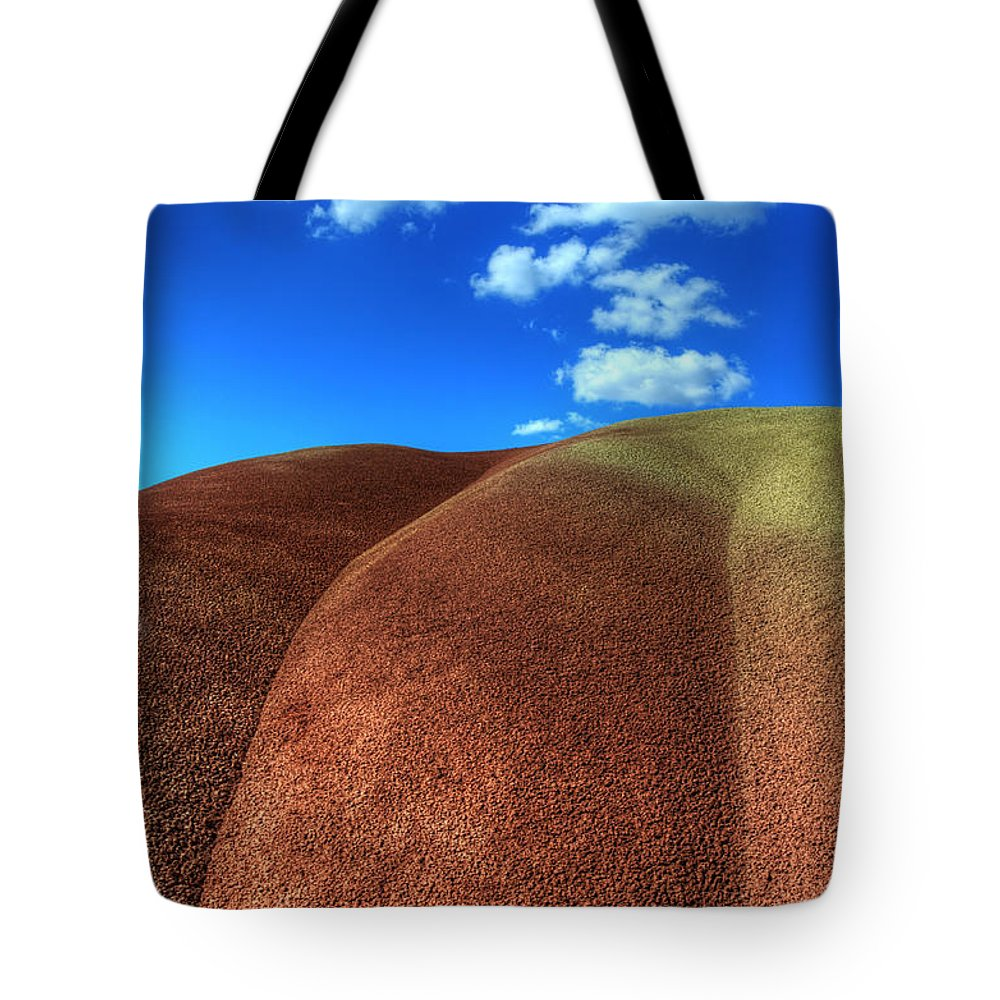 John Day Tote Bag featuring the photograph Painted Hills Blue Sky 2 by Bob Christopher